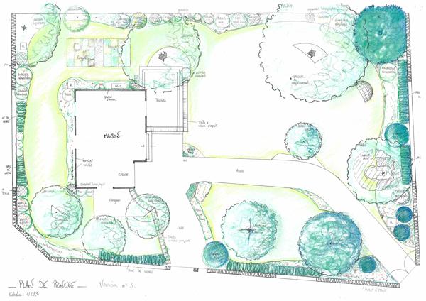 Les Jardins à l'Ancienne, jardin art nouveau, plan projet