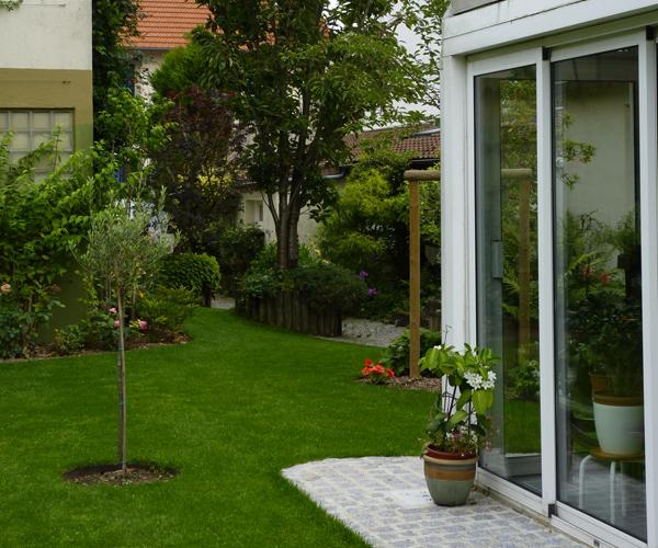 Les Jardins à l'Ancienne, Jardin urbain, pelouse, arbres, conception paysagère, nicolas gobert