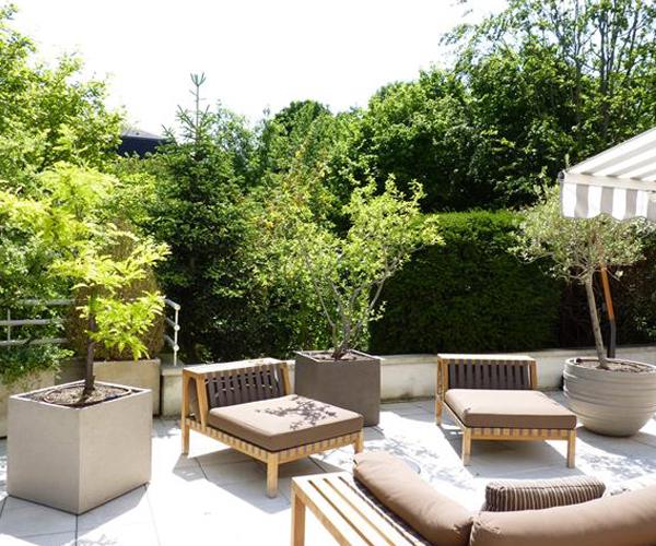 Les Jardins à l'Ancienne, terrasse, poterie, plantes, espace repos, espace détente, bois, jardin